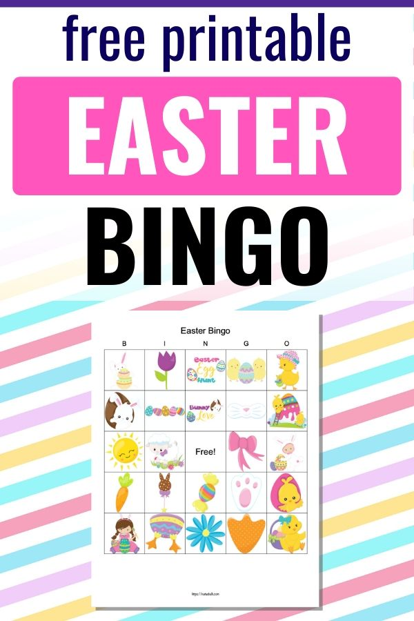 "text ""free printable Easter bingo"" on a pastel stripe background with a preview of an easter bingo card printable"