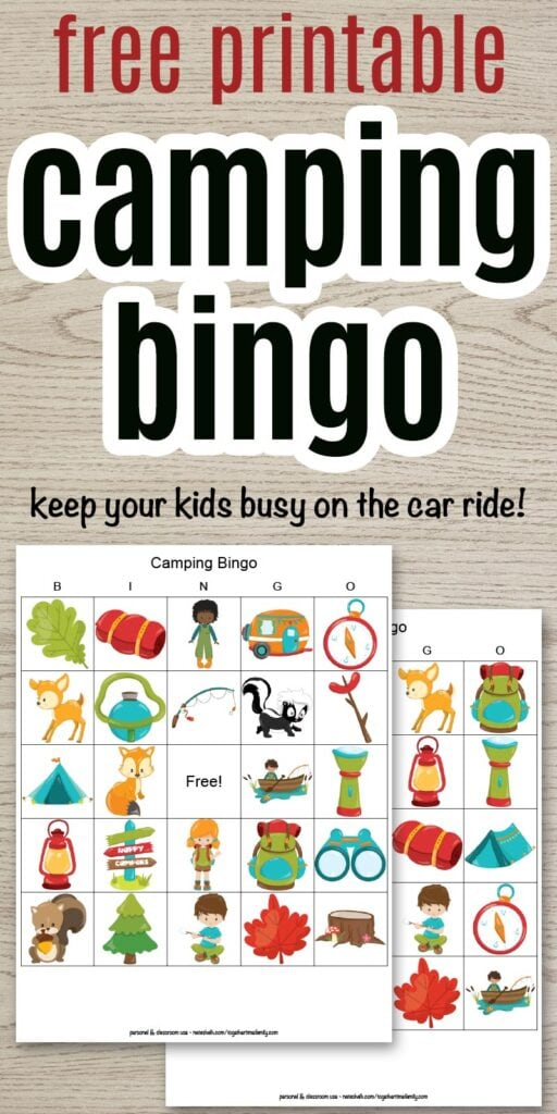 free printable camping bingo - keep your kids busy on the car ride to camp! With a preview of two printable picture bingo cards featuring campground cartoon images.