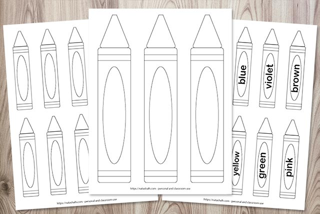 printable crayon template previews on a wood background. One sheet has three large printable crayons, one has 10 blank crayon templates, and one has 10 labeled black and white crayons to color