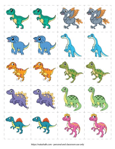 Free printable dinosaur matching game featuring 10 different cartoon dinosaur images.