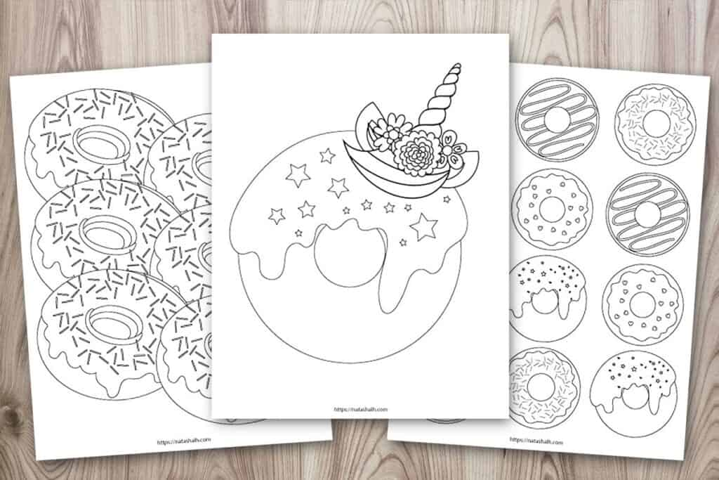 Three free printable donut coloring pages. One has six donuts, one has a dozen donuts, and one is a unicorn donut coloring page