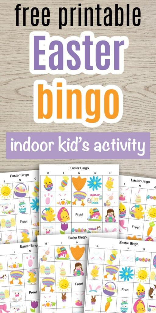 "text ""free printable Easter bingo indoor kid's activity"" with a preview of six free printable Easter picture bingo boards"