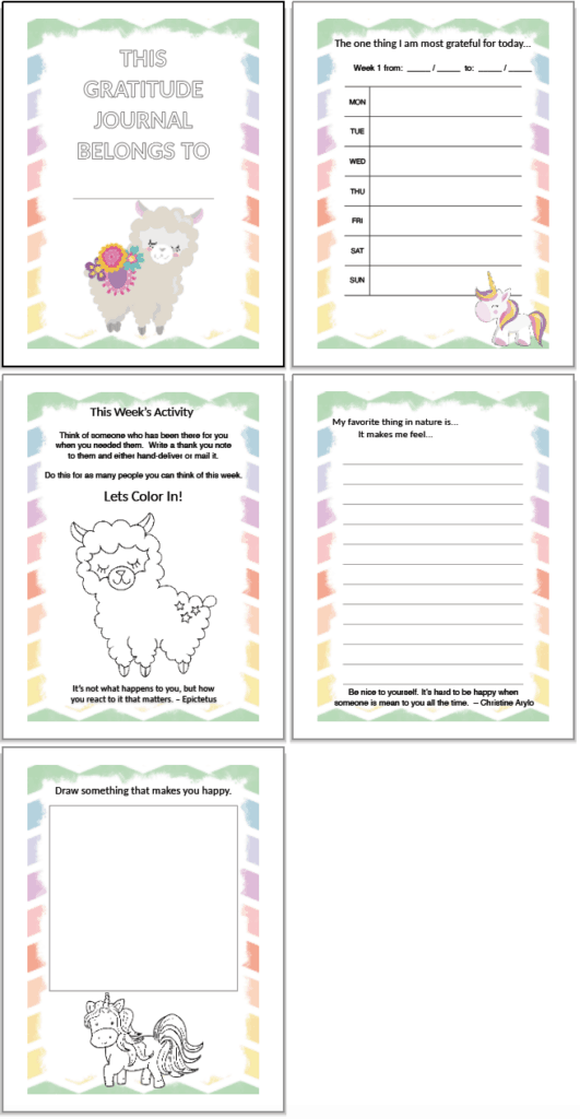 Free printable gratitude journal for kids. Each page has a colorful rainbow border. There is a journal page, a coloring page, and a drawing prompt with a unicorn to color.