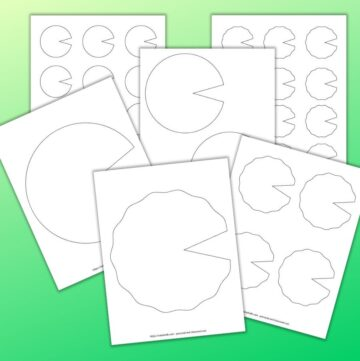6 printable lily pad templates on a green background. The templates range from full page to small with 12 on a page. There are smooth and wavy edged lily pads.