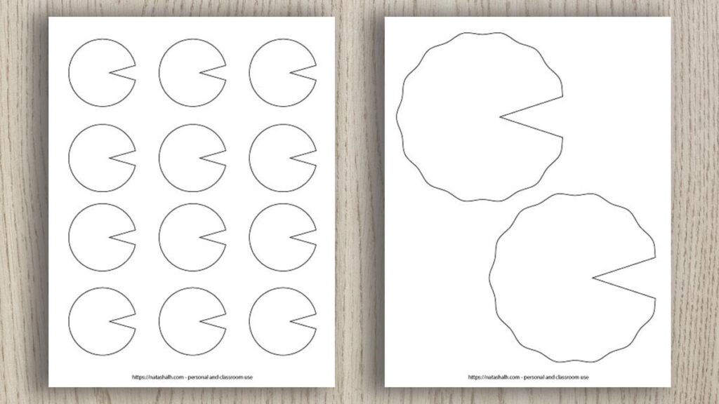 Two printable lily pad templates on a wood background. One printable has two large lily pad patterns and the other has 12 small lily pads to print and cut
