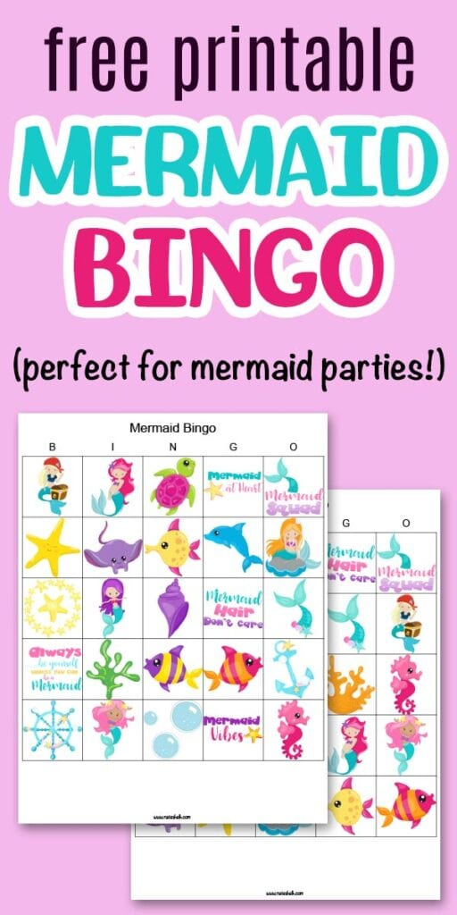 "text ""free printable mermaid bingo"" on a bingo background with two printable mermaid picture bingo boards"