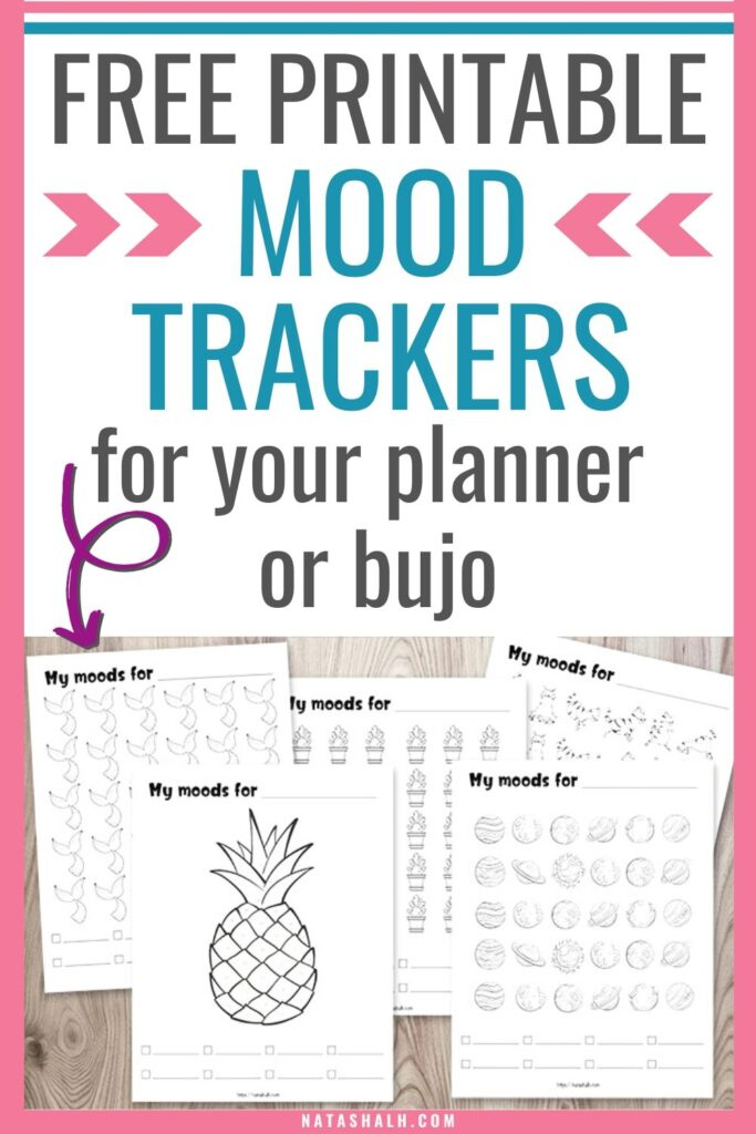 "text ""free printable mood trackers for your planner or bujo"" with a preview of four printable mood trackers"