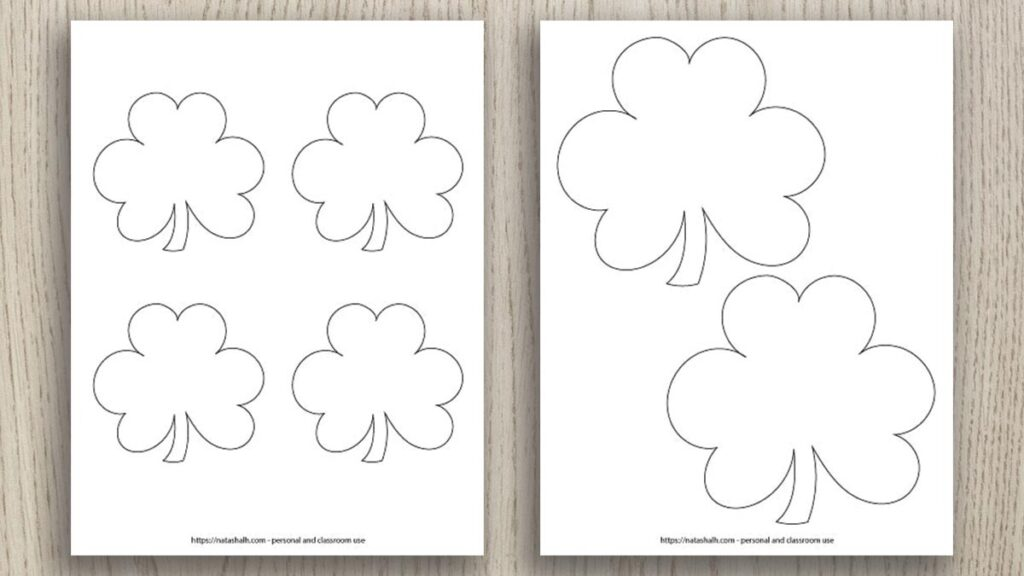preview of two free printable shamrock templates on a wood background. One template has two medium shamrocks and the other has four smaller shamrocks