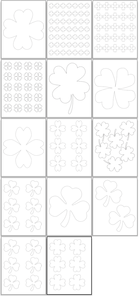 preview of free printable shamrock templates and four leaf clover outlines for St. Patrick's Day.