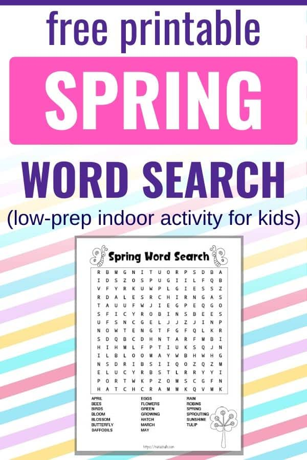 "text ""free printable spring word search - low-prep indoor activity for kids"" on a pastel stripe background with a preview of a printable word search for kids."