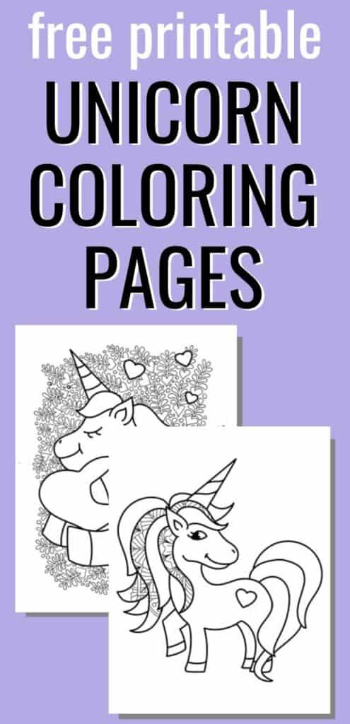 "text ""free printable unicorn coloring pages"" on a purple background with a preview of two free printable unicorn coloring pages."