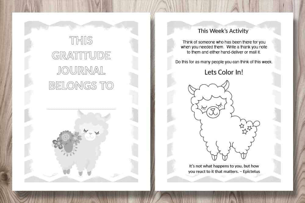 printable gratitude journal for kids preview. The pages feature cute llamas and a gratitude activity for children.