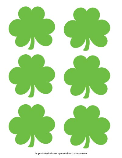 Six green shamrock templates on one page