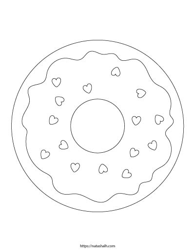 Free printable large donut coloring page with heart sprinkles