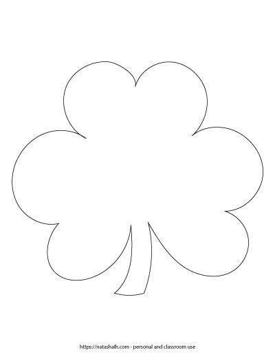"7.5"" wide shamrock printable template. It is a black and white outline of a three leaf clover with a stem."