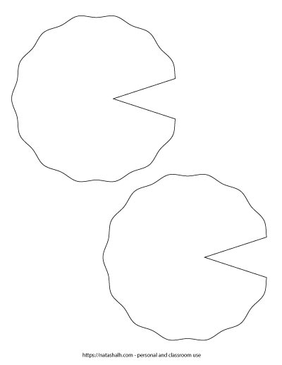 Two lily pad templates with wavy edges