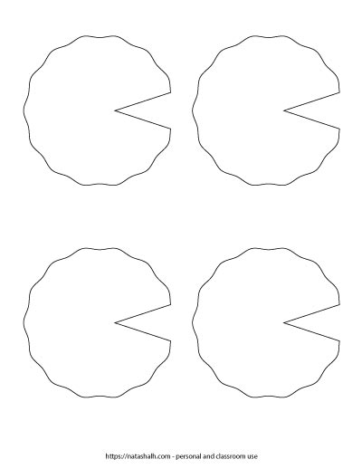 Four medium lily pad templates with a wavy edge