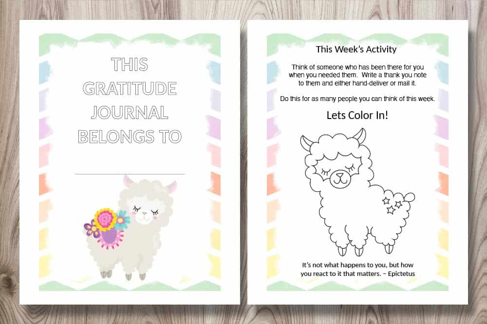 The front cover and an interior page for a colorful kid's gratitude journal. The pages feature a cute llama and a gratitude activity prompt for children.
