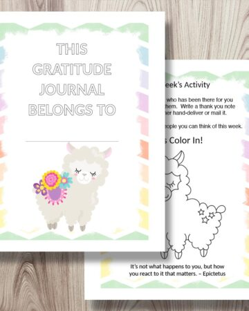 preview of the front page and an interior page from a printable gratitude journal for kids. The front cover features a cartoon alpaca and the interior page has a gratitude challenge activity and an alpaca to color
