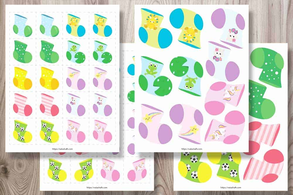 Four printable sock matching activities for toddlers. The socks are bright and colorful with dinos, stars, unicorns, frogs, and soccer balls.