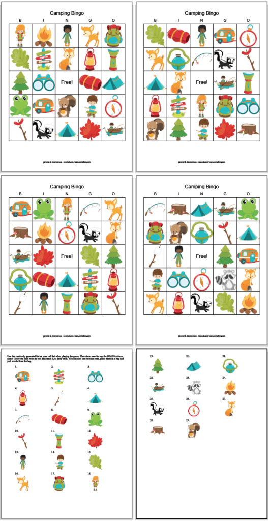 Four free printable camping bingo cards for kids with two pages of call cards