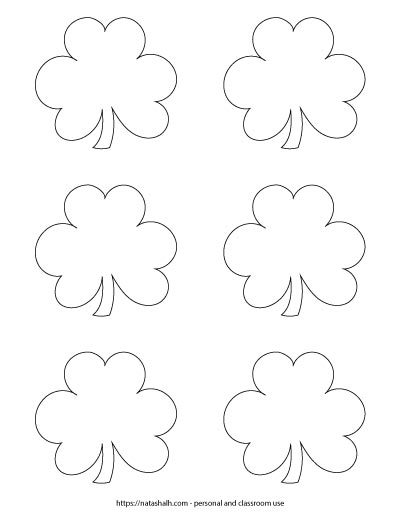 Six small shamrock outlines on one page