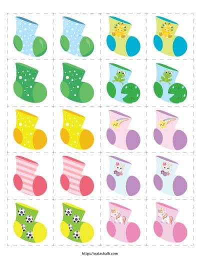 """Free printable sock matching game for toddlers. There are 10 different images on 2"""" tiles to print and cut."""