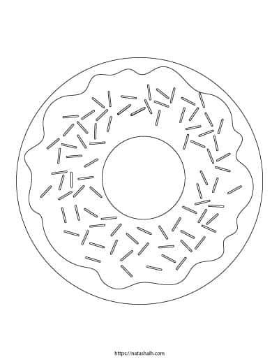 Free printable sprinkle donut coloring page