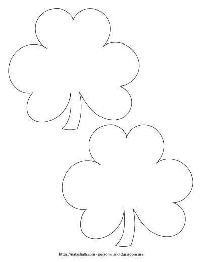 "Two 5.5"" wide shamrock outlines on one page"