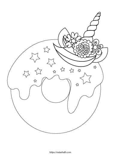 Free printable unicorn donut coloring page with star sprinkles