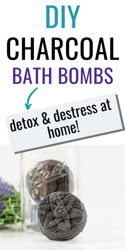 "text ""diy charcoal bath bombs -> detox and destress at home!"" with a picture of an activated charcoal bath bomb made in a circular floral mold."