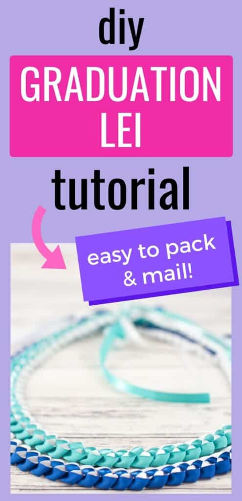 """text """"Diy graduation lei tutorial - easy to pack and mail!"""" There is a picture with two braided Hawaiian ribbon lei on a white background. Both lei are blue and white."""