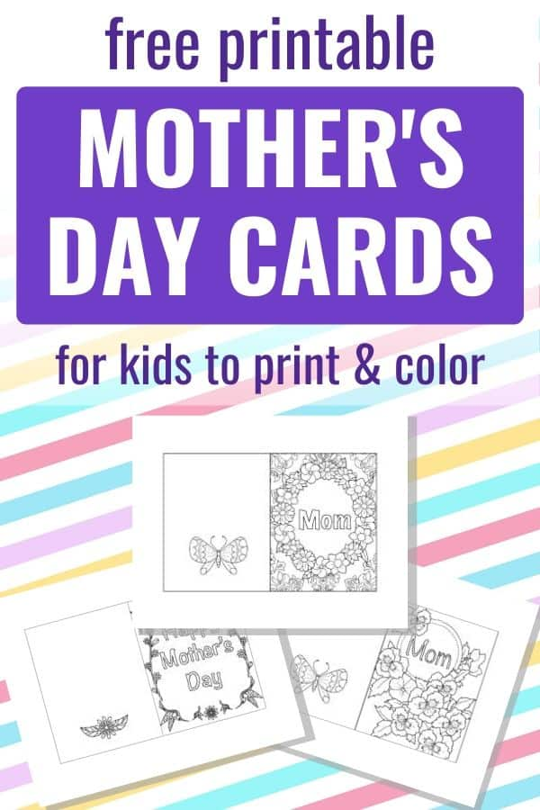 "Text ""free printable Mother's Day cards for kids to print and color"" with a preview of three printable floral mother's day cards."