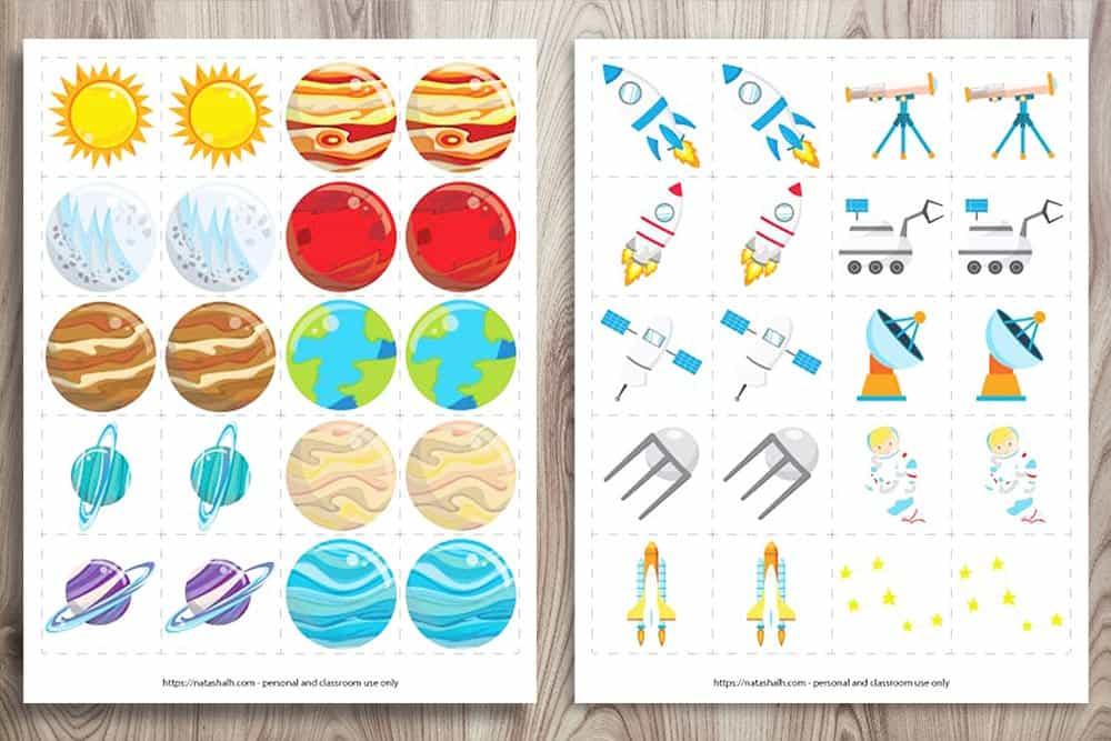 Two free printable outer space matching games. Each game features 10 pairs of cards. One has 9 planets and the Sun. The other set of cards features rockets, satellites, telescopes, and an astronaut.