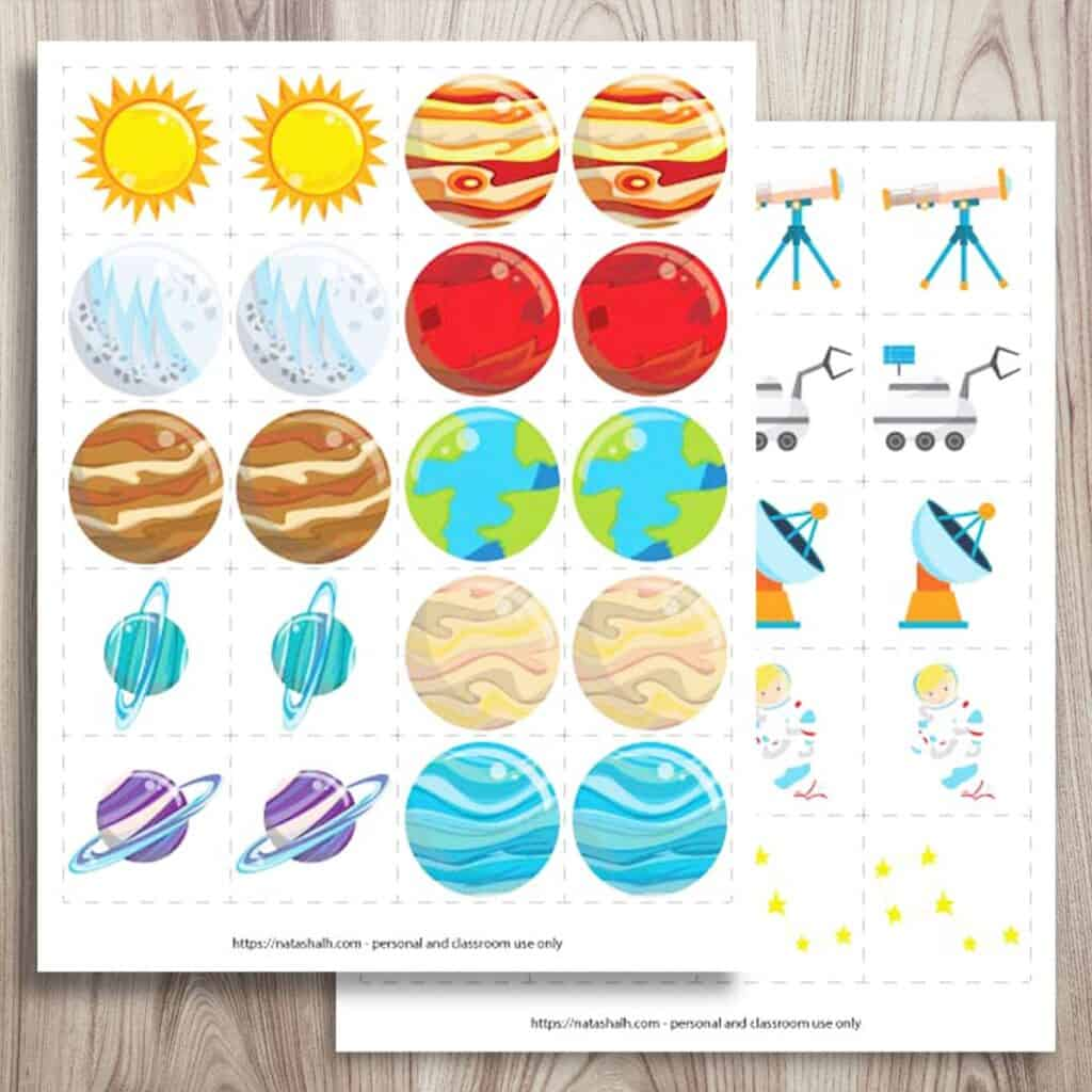 Free Printable Space Matching Game Solar System Matching Cards The Artisan Life