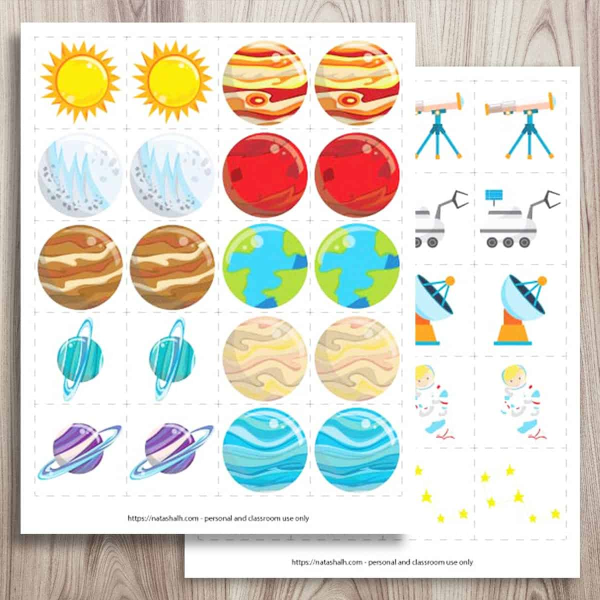Free Printable Space Matching Game Amp Solar System Matching