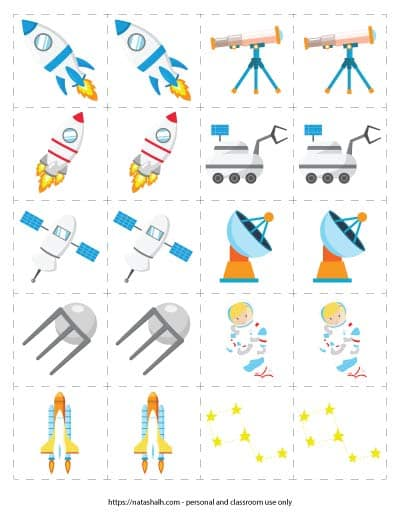 Free printable space themed matching game for toddlers and preschoolers. The page has 10 pairs of space-themed images including rocket ships, telescopes, and a rover.