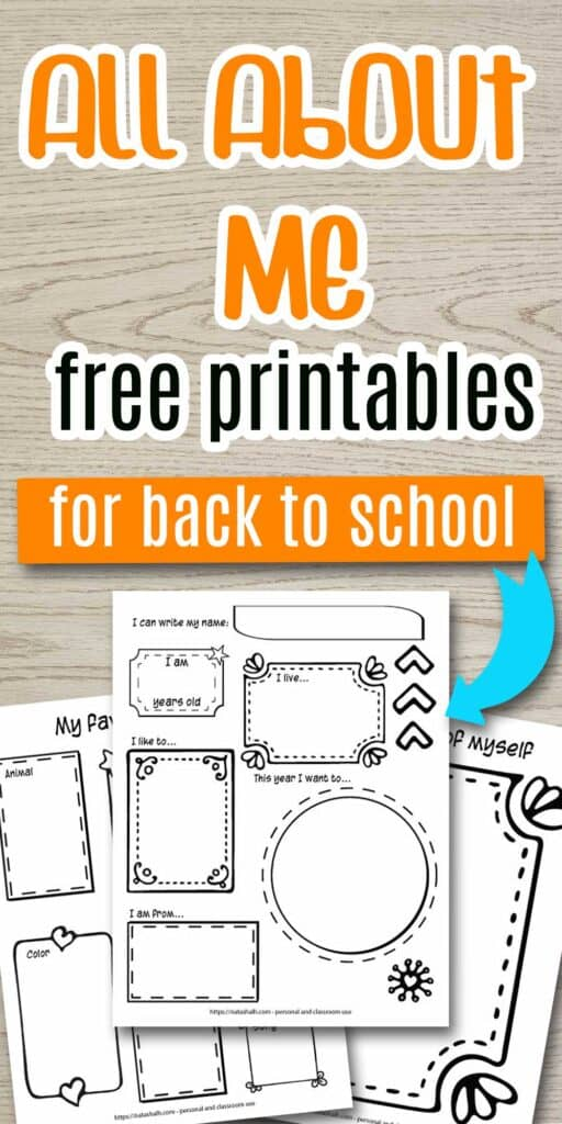 """Text """"all about me free printables for back to school"""" on a wood background. There is a blue arrow pointing at a mockup of three pages of all about me printable for preschoolers and kindergarten. All pages feature hand drawn frames. The top/middle page says """"I can write my name: I am (blank) years old, I live... This year I want to... I like to... I am from..."""" Behind to the left is a page for drawing a self portrait. Behind and to the right is a page with space for the child to write or draw their favorite things."""