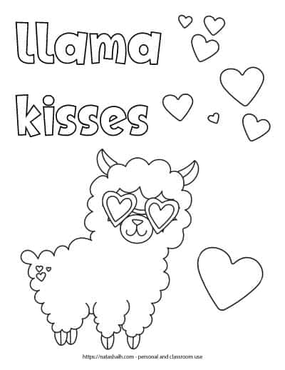 "Text ""llama kisses"" in bubble letters in the top left corner of a printable coloring page. The page features a cartoon llama wearing heart sunglasses. There are also 8 hearts to color in the background."