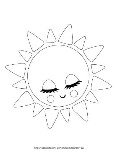 """A preview of a printable black and white sun template. It is a cute sun with closed eyes, long eyelashes, cheeks, and a smile. The sun outline fills the entire page. On the bottom is written """"natashalh.com - personal and classroom use only"""""""