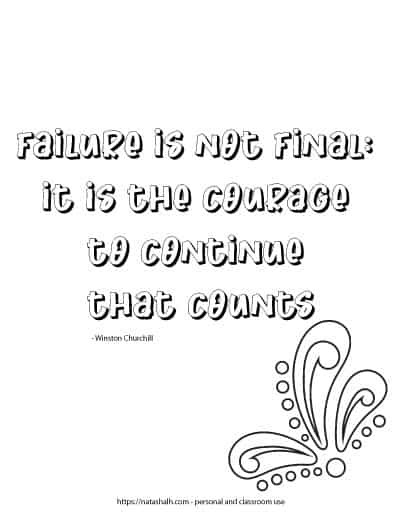 "Simple coloring page with the quote ""failure is not final: it is the courage to continue that counts - Winston Churchill"" with a paisley decorative element in the bottom right corner."