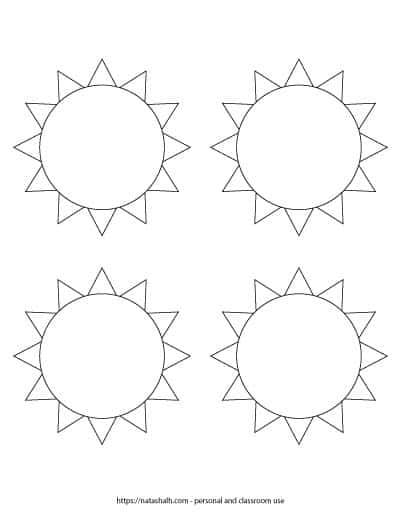 """A preview of printable black and white sun templates. There are four suns on the page. Each one is 3.75"""" across. On the bottom is written """"natashalh.com - personal and classroom use only"""""""