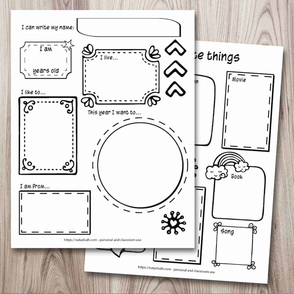 """Two printable """"all about me"""" worksheets for preschool, kindergarten, and elementary students. Both pages feature hand drawn frames. The top left page says """"I can write my name: I am (blank) years old, I live... This year I want to... I like to... I am from..."""" Behind and to the right is a page with space for the child to write or draw their favorite things."""