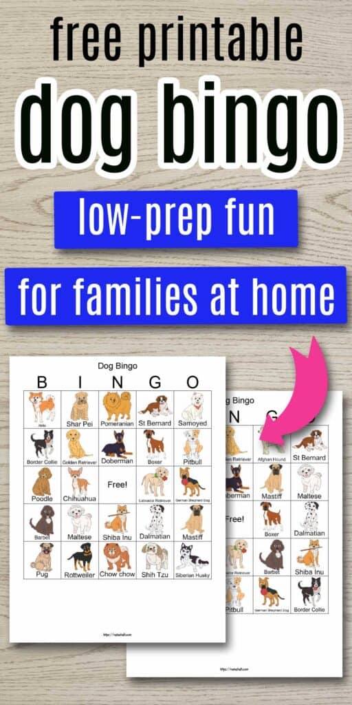 "text ""free printable dog bingo - low-prep fun for families at home"" on a wood background and a pink arrow pointing at two printable dog bingo cards. The cards each feature 24 illustrated dog images with breed names."