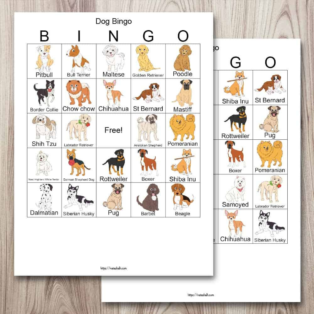 Two free printable dog bingo boards on a wood background. The cards feature different dog breeds that are listed by name and with illustrated images.