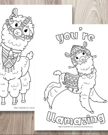 "Two free printable llama coloring pages on a wood background. The coloring pages are layered on top of one another. The front page says ""you're llamazing"" in bubble letters with a jumping llama waring a blanket and chulo hat. The page behind is partially obscured and has a front-facing llama wearing a bell and halter made of flowers."