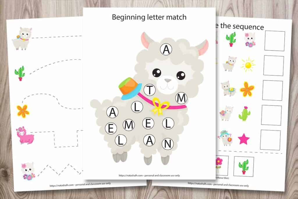 Three pages from a 25+ printable llama preschool learning pack. The front image is a beginning letter match do a dot printable with a cartoon image of a llama. Behind it are a prewriting tracing worksheet and a complete the sequence worksheet. All pages are on a wood background.
