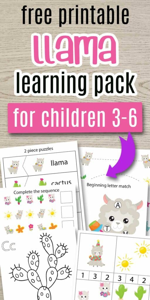 "Text ""free printable llama learning pack for children 2-6"" with a purple arrow pointing and printable previews. The Pages shown include counting clip cards, a cactus coloring page, a beginning letter match do a dot printable with a llama, prewriting trading sheets, complete the sequence cut and paste worksheets, and two part puzzles. All printables feature cute cartoon llama and desert images."