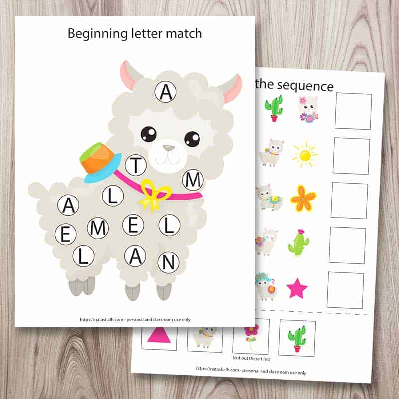 Two pages from a 25+ printable llama preschool learning pack. The front image is a beginning letter match do a dot printable with a cartoon image of a llama. Behind it is a complete the sequence worksheet. The pages are on a wood background.