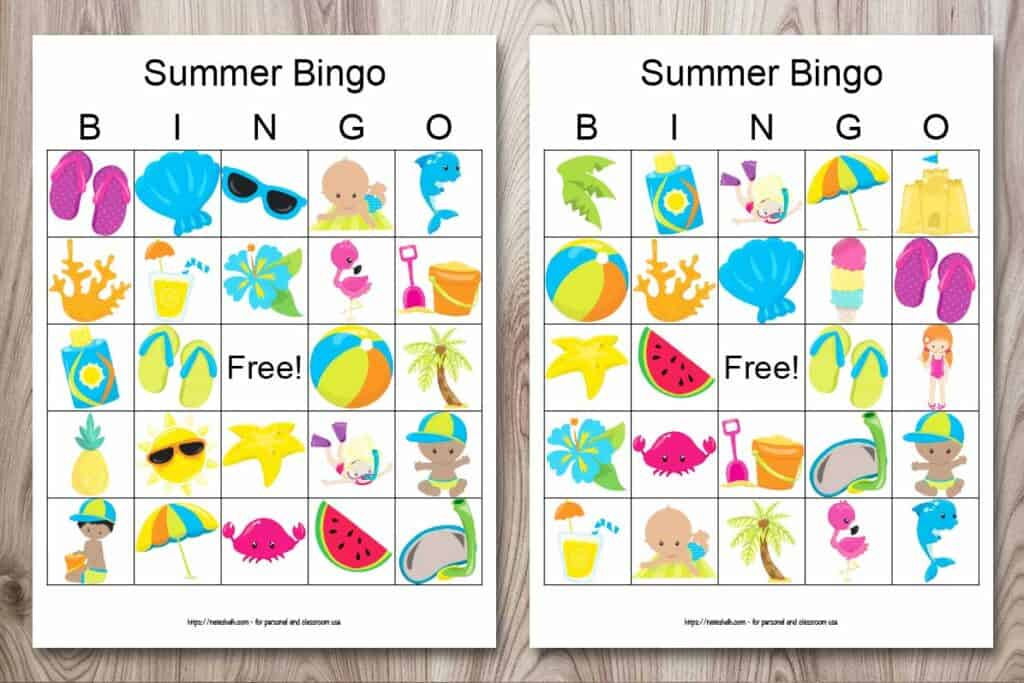 Two printable summer bingo cards on a wood background. Each bingo card printable features 24 cartoon summer images like a beach ball, flip flops, an umbrella, and ice cream.